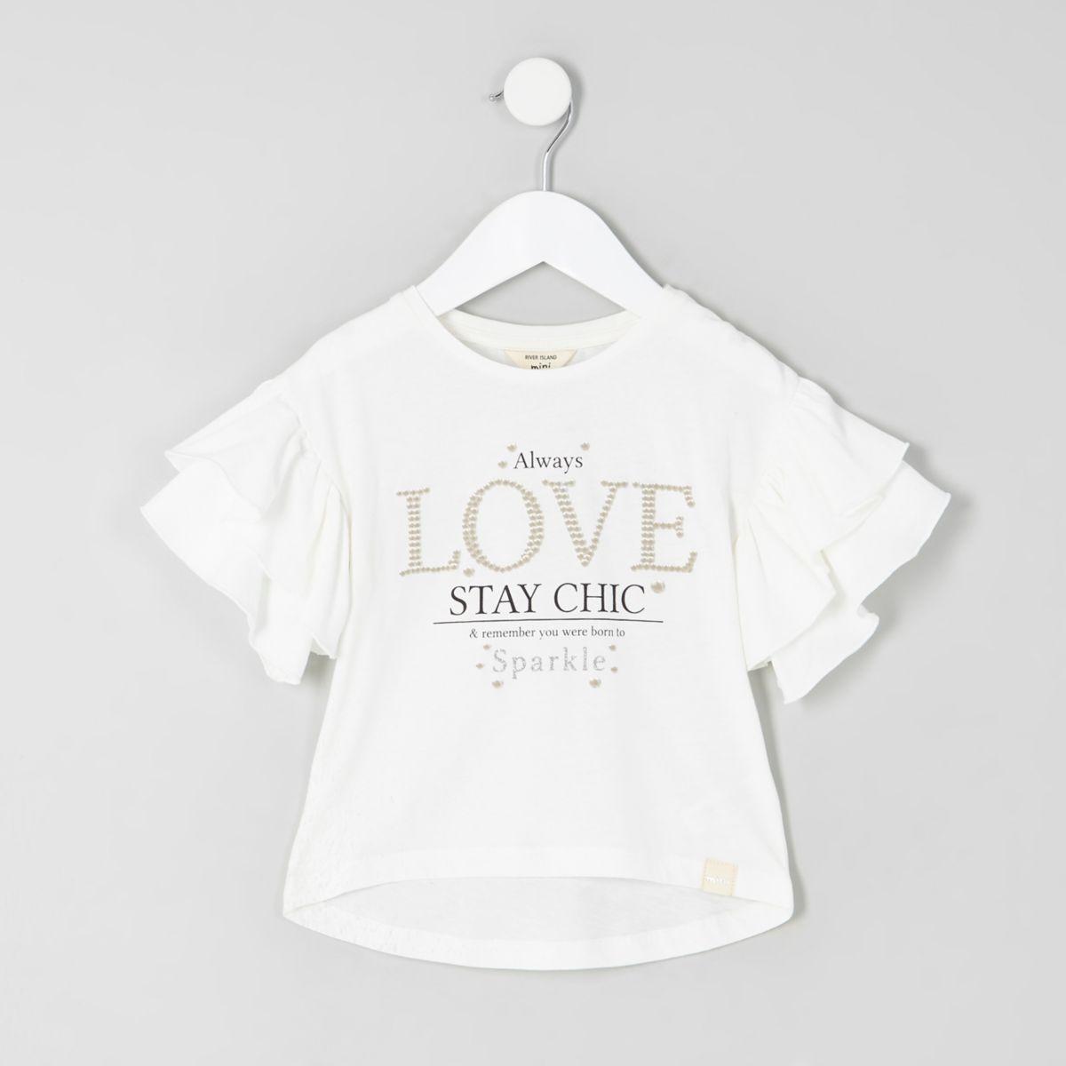 Mini - Wit T-shirt met ruchemouwen en 'Love'-print voor meisjes