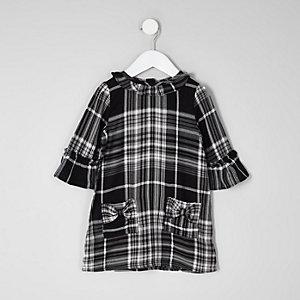 Robe droite à carreaux noire avec nœud mini fille
