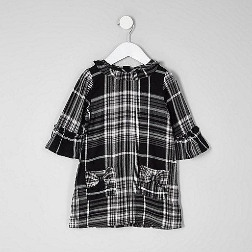 Mini girls black check bow shift dress