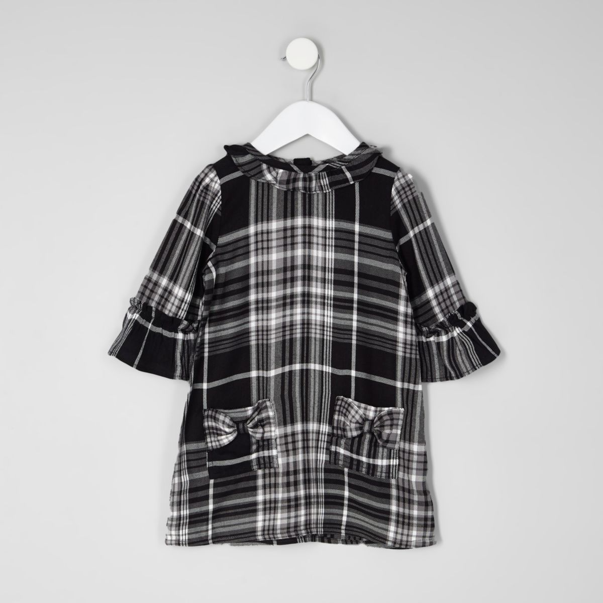 Mini girls black check bow shift dress