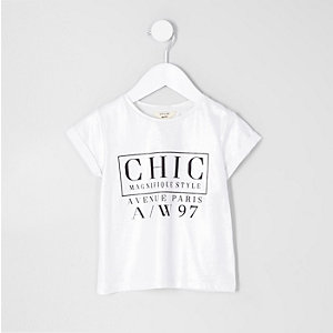 Mini girls silver foil 'chic' print T-shirt