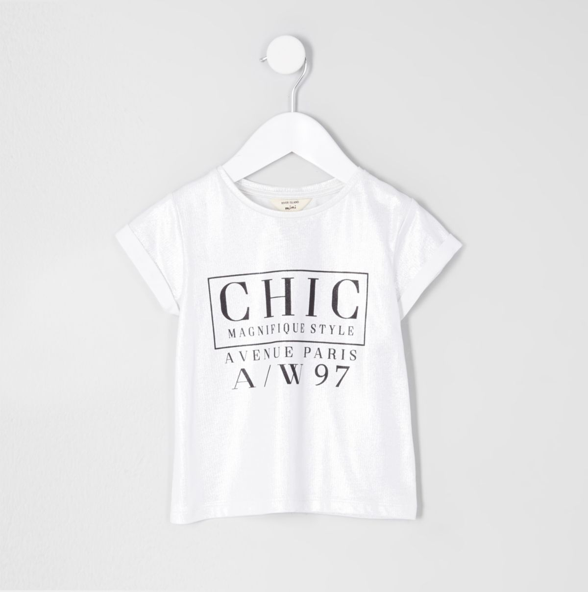 Mini girls silver foil 'chic' print T-shirt