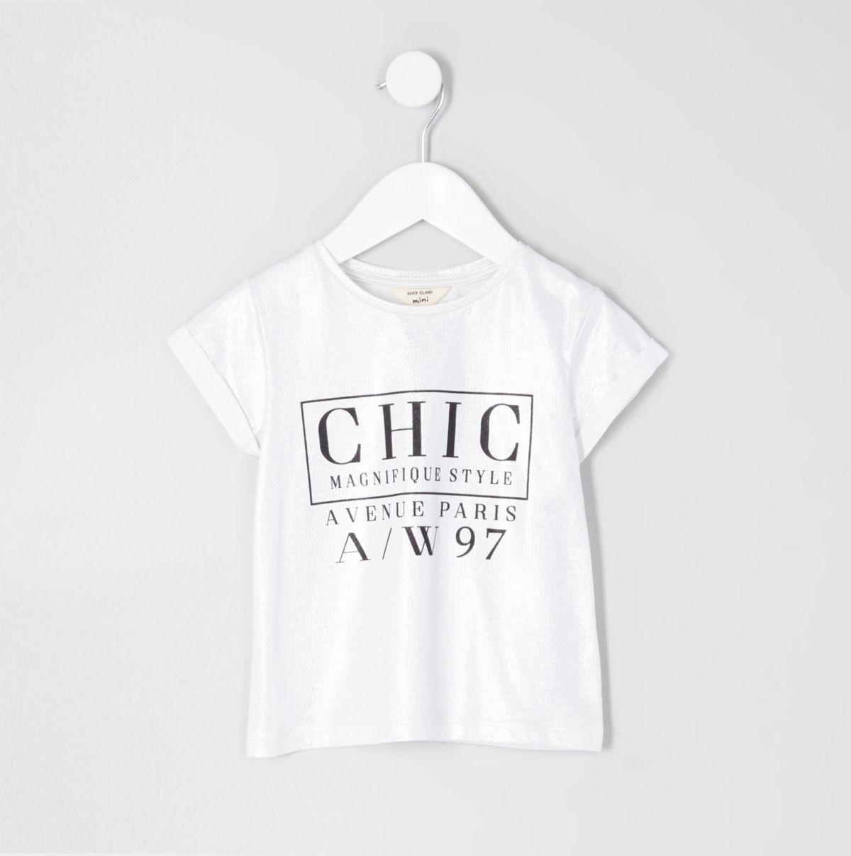 Mini - T-shirt met 'Chic'-zilverfolieprint voor meisjes