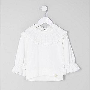 Mini - Crème sweatshirt met ouderwets kant voor meisjes