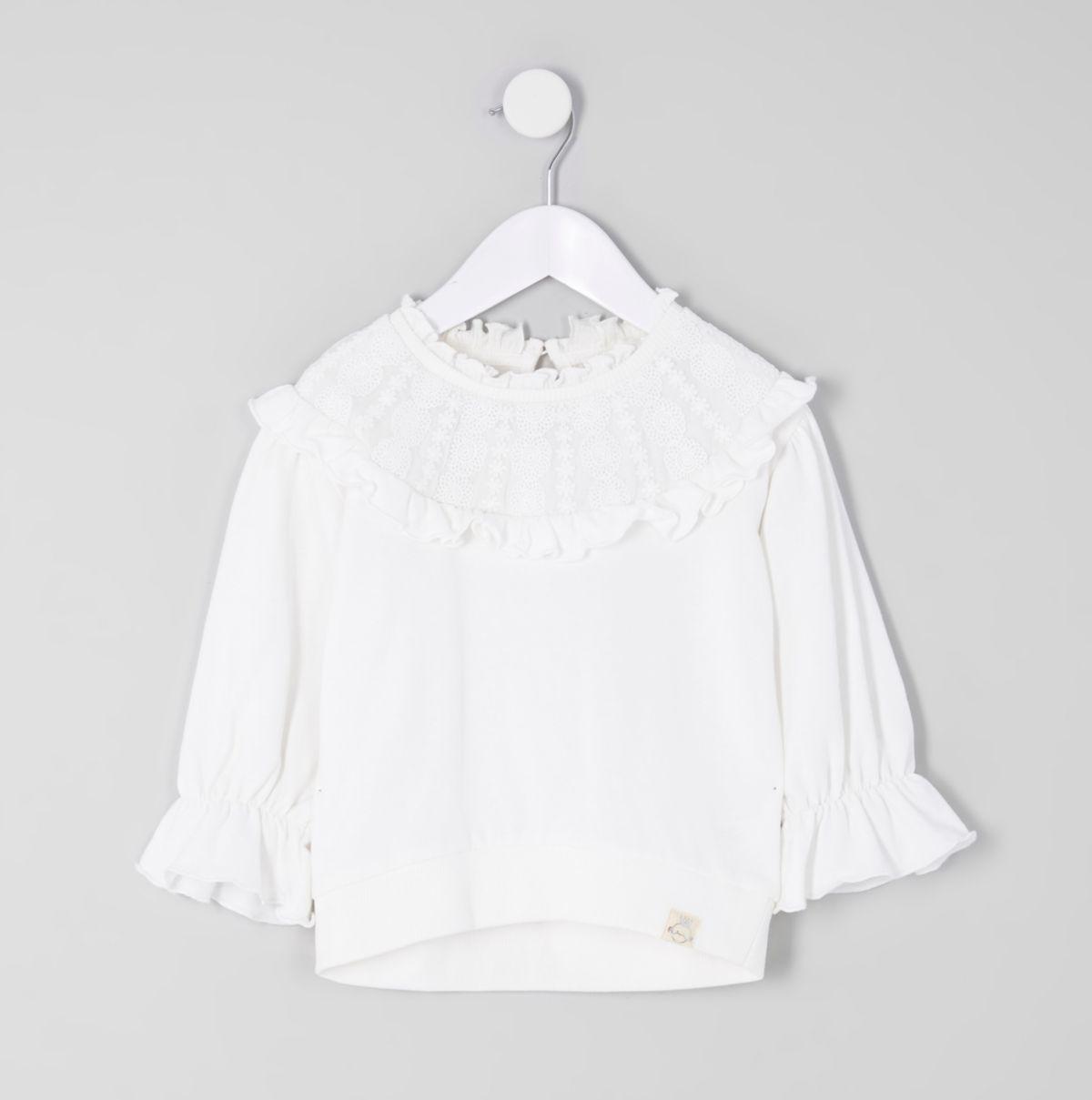 Mini girls cream victoriana sweatshirt