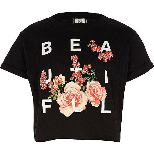 Girls black 'beautiful' print cropped T-shirt