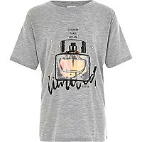 Girls grey perfume bottle longline T-shirt