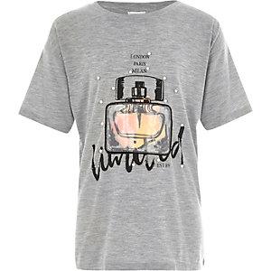 T-shirt long motif bouteille de parfum gris pour fille