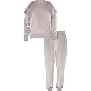 Girls lilac velour sweater and joggers outfit