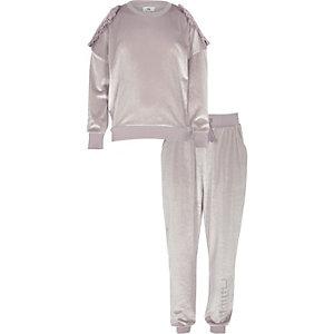 Ensemble pantalon de jogging et pull en velours lilas pour fille
