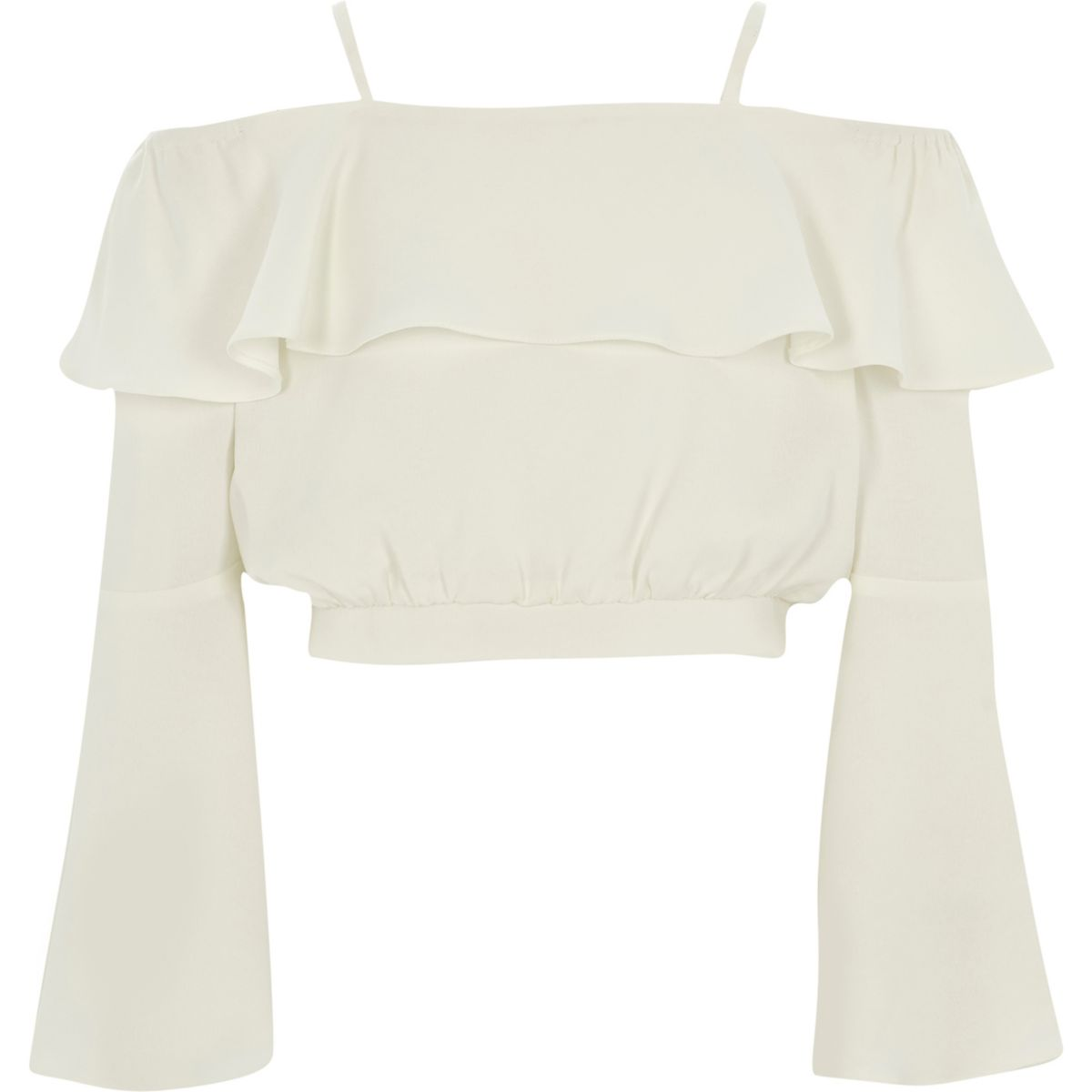 Girls cream bardot frill crop top