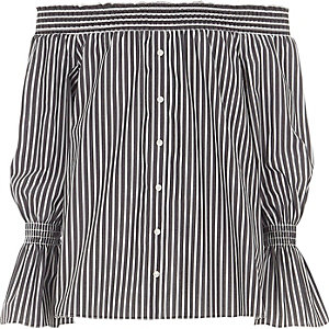Girls grey stripe bardot button front shirt
