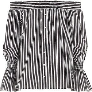 Chemise Bardot rayée grise à boutons devant pour fille