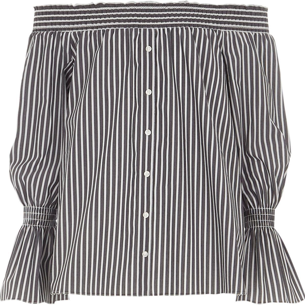 Girls grey stripe bardot button front shirt