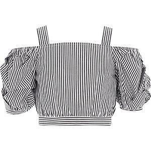 Girls grey stripe puff sleeve bardot crop top