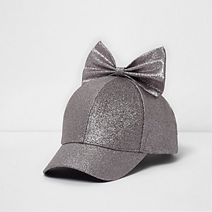 Girls purple glitter bow top baseball cap