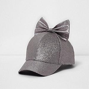 Girls purple glitter bow top baseball cap