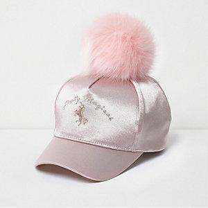 Roze satijnen unicorn basketbalpet met pompon