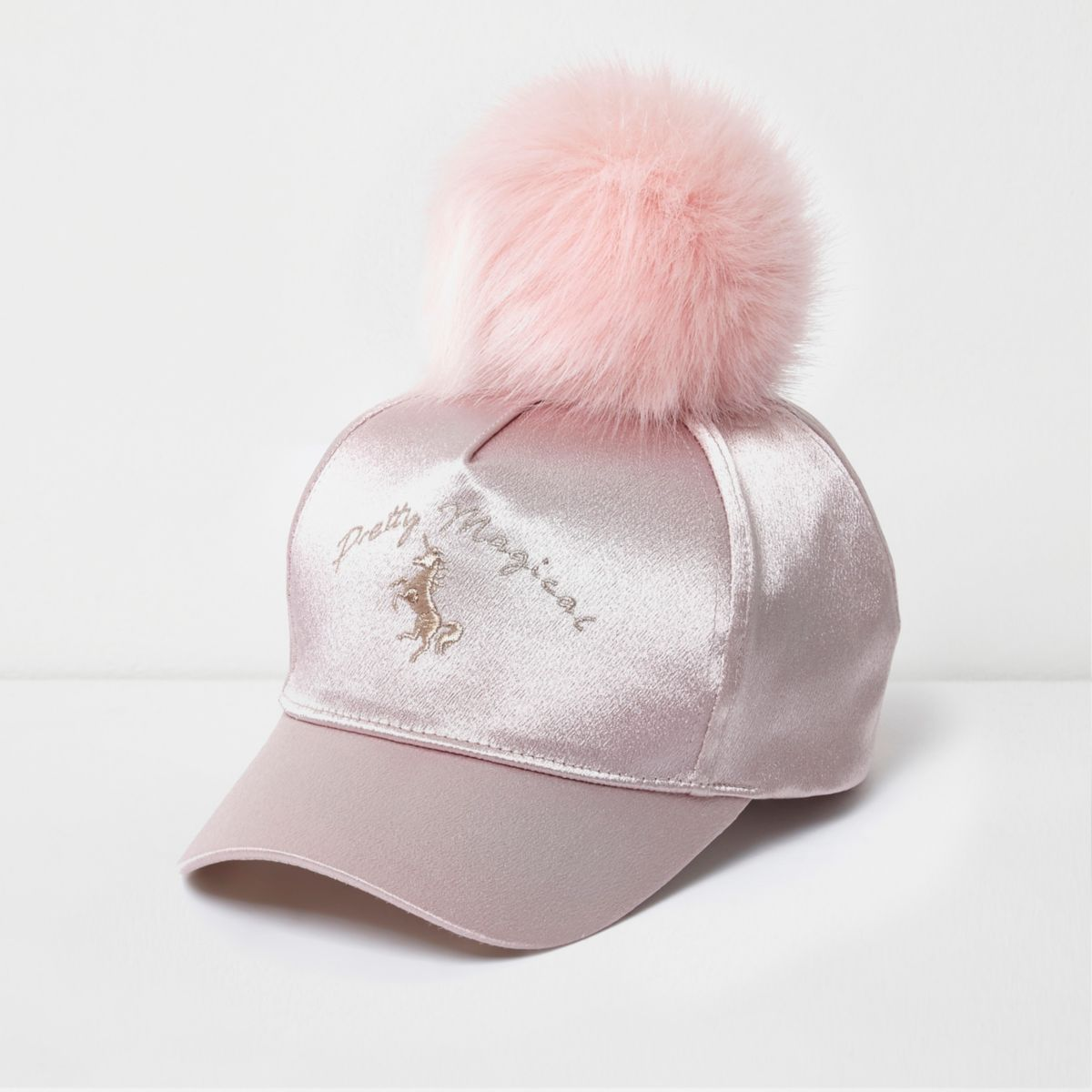 Girls pink satin unicorn pom pom baseball cap