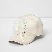 Girls cream satin lace-up baseball cap