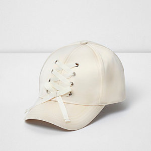 Girls cream satin lace-up baseball cap