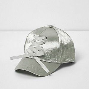 Girls silver satin lace-up baseball cap