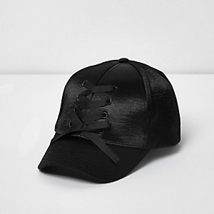Girls black satin lace-up baseball cap
