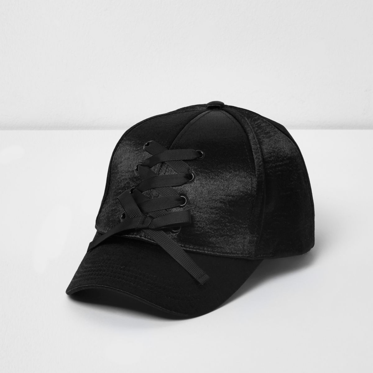 Girls black satin lace-up baseball cap