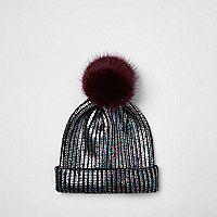 Girls black metallic knit bobble beanie hat