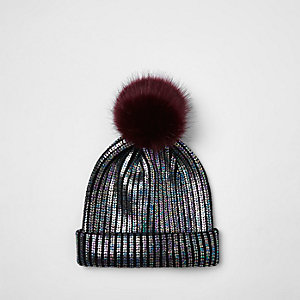 Girls black metallic knit pom pom beanie hat
