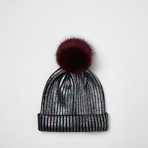 Girls black metallic knit pom pom beanie hat