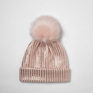 Girls pink metallic knit pom pom beanie hat