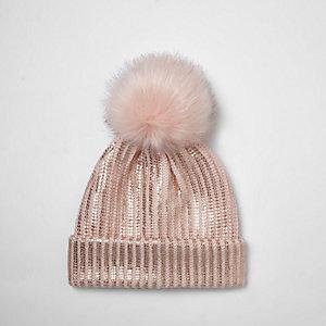 Girls pink metallic knit bobble beanie hat