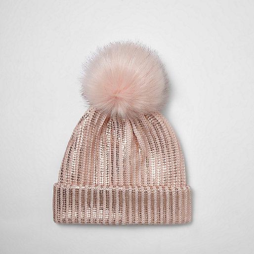 Girls pink metallic knit pom pom beanie hat