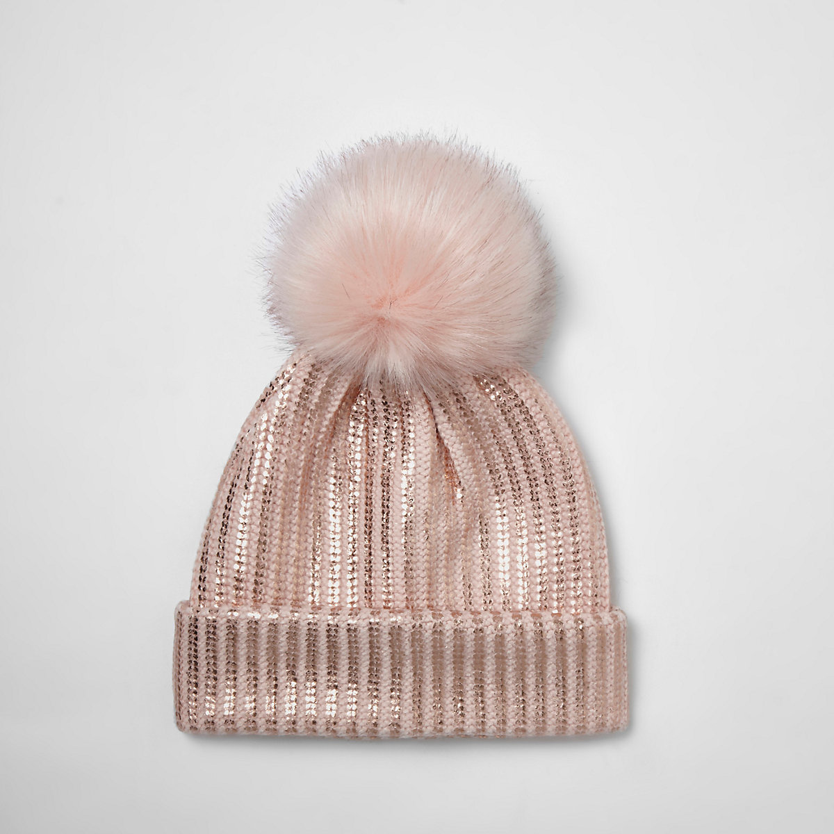 ce7c20079fb Girls pink metallic knit bobble beanie hat - Accessories - Sale - girls