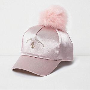 Pinke Baseballkappe mit Bommel und Einhorn-Motiv
