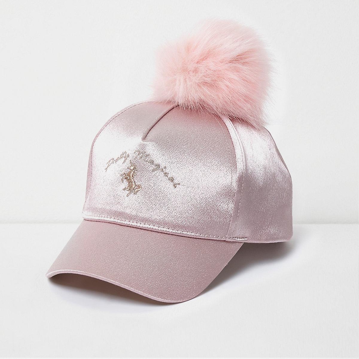 Mini girls pink unicorn pom pom baseball cap