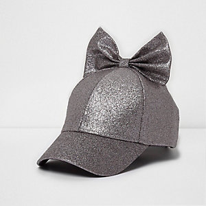Mini girls purple glitter bow baseball cap