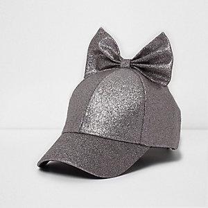 Mini - Paarse baseballpet met glitters en strik voor meisjes