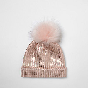 Mini girls pink metallic pom pom beanie hat