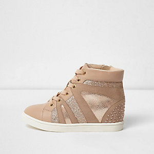 Girls pink glitter stud hi top wedge trainers