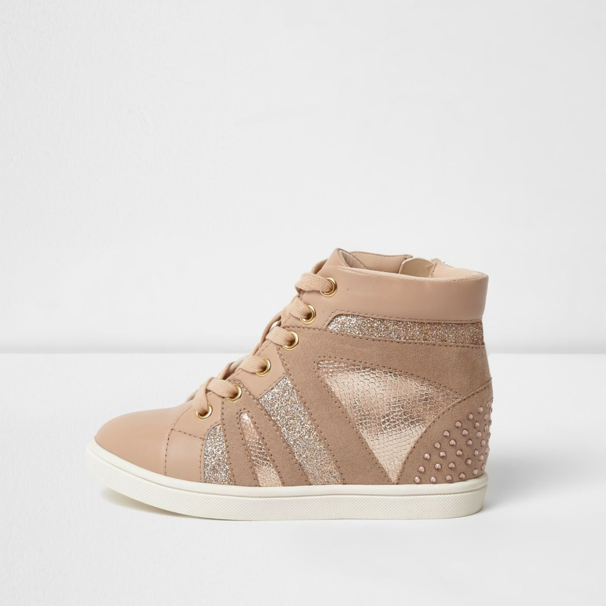 Girls pink glitter high top wedge trainers