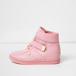 Girls pink hi top wedge sneakers