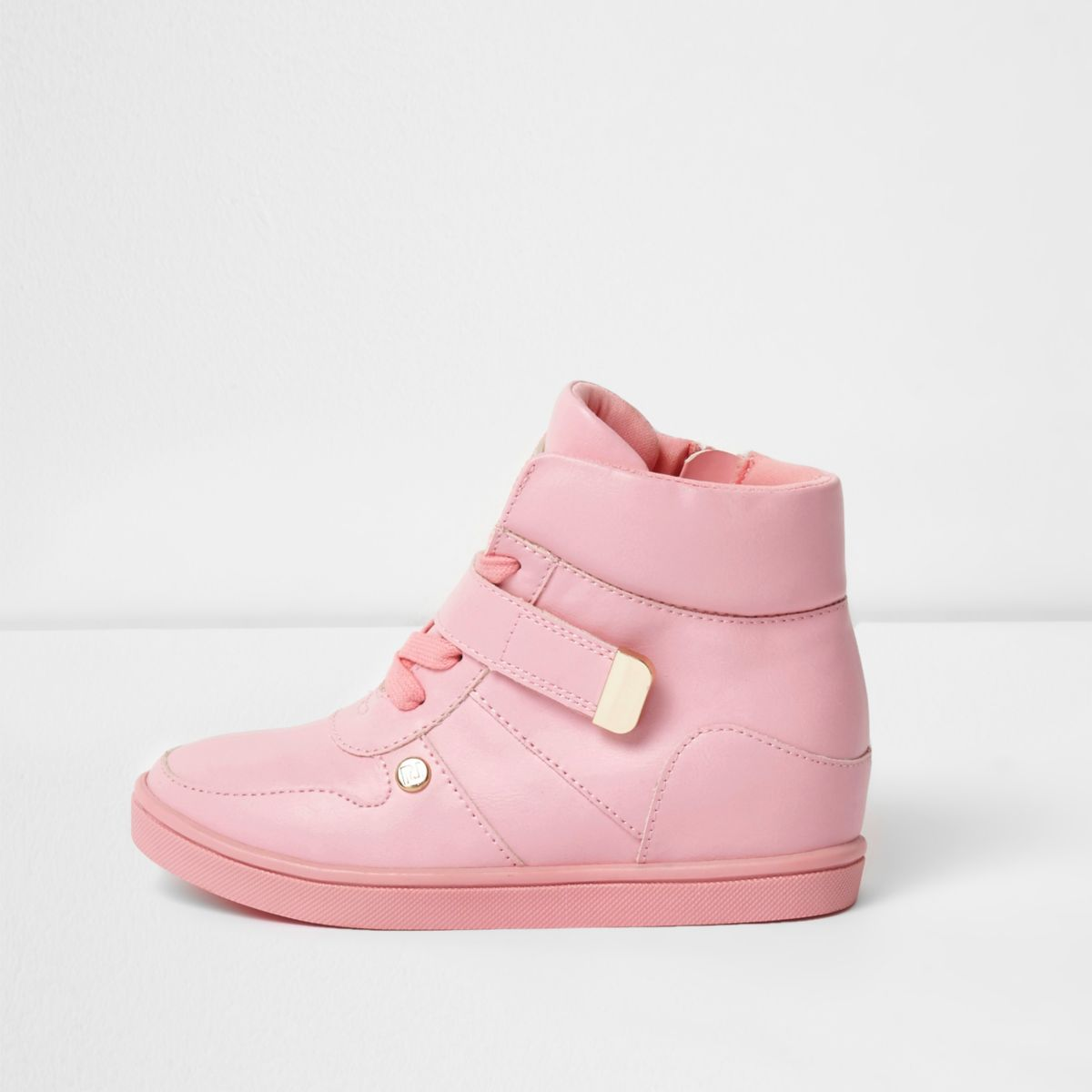 Girls pink high top wedge trainers