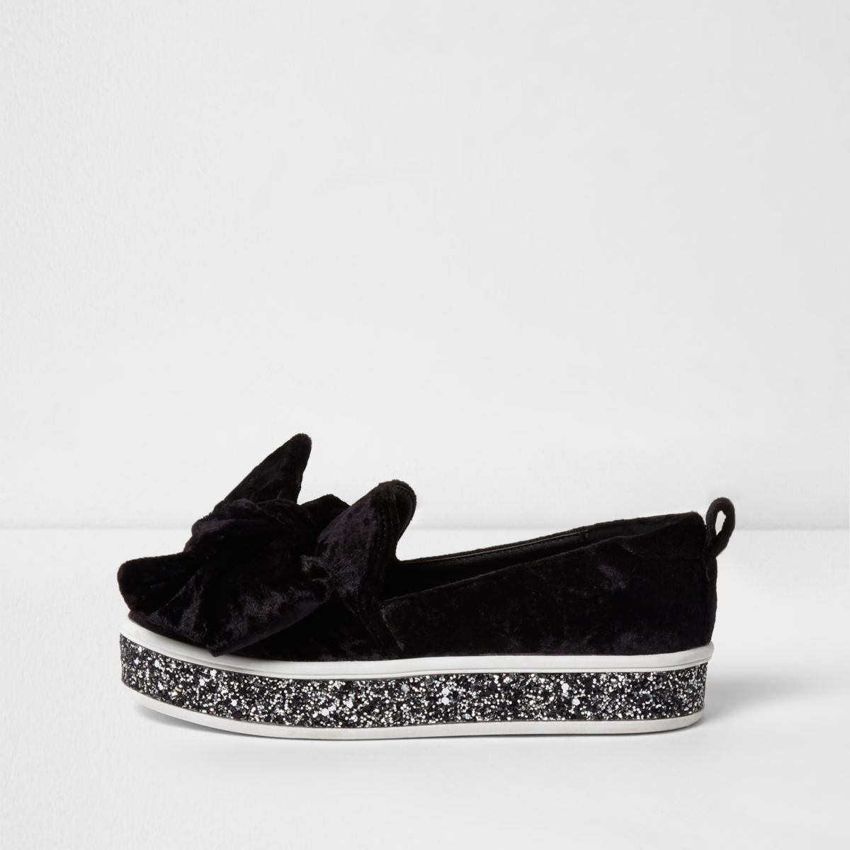 Girls black velvet bow glitter plimsolls