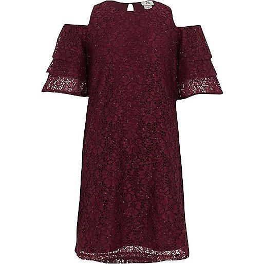 Girls red lace cold shoulder frill dress