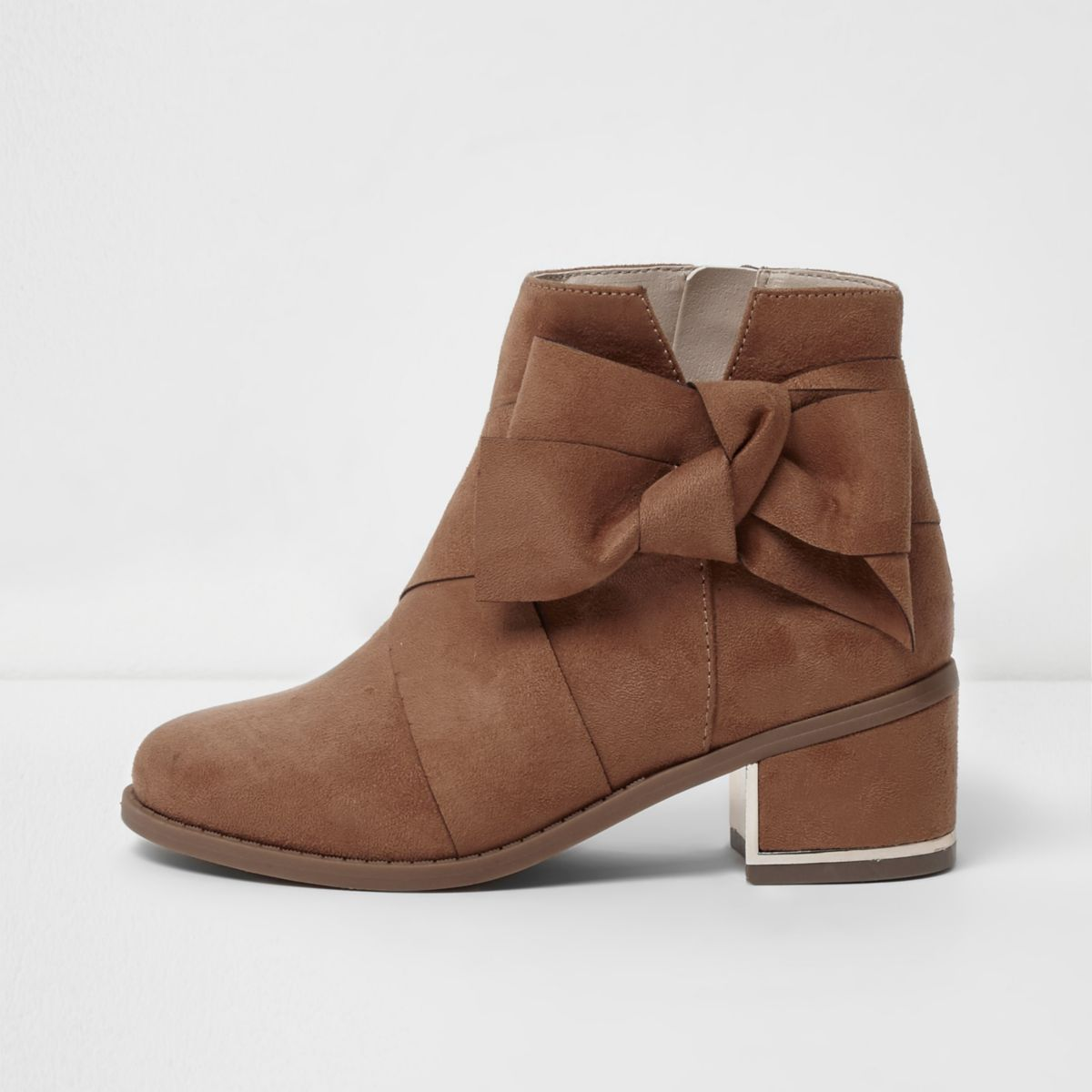 Girls tan bow side block heel ankle boots