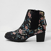 Girls black floral jacquard block heel boots