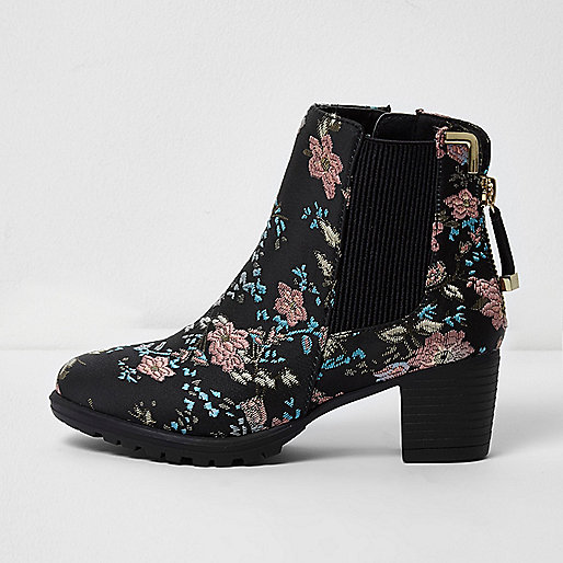 Girls black floral jacquard block heel boots