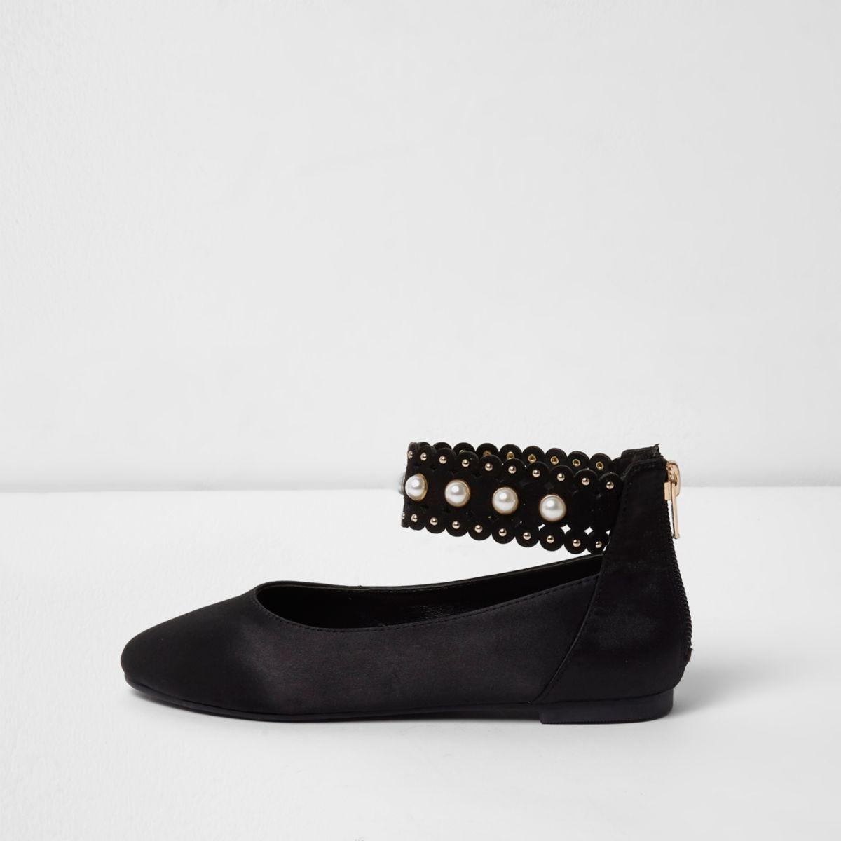 Girls black satin faux pearl ballerina shoes